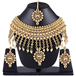 Bridal Necklace Set With Earrings & Maang Tikka Indian Jewelry Set / Perfect Gifts For Her - Bridal Gajra