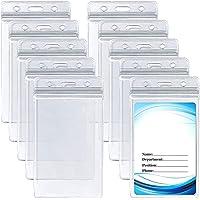 10 pièces Clair Porte-cartes d'identité Porte-cartes vertical en PVC avec porte-badge nominatif étanche et refermable…