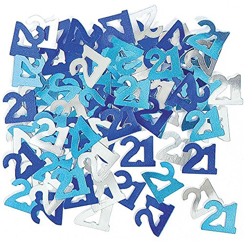 Gifts 4 All Occasions Limited SHATCHI-355 - Confeti para decoración de mesa (21 unidades), color azul y plateado