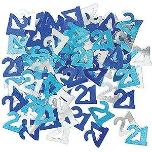 Gifts 4 All Occasions Limited SHATCHI-355 - Confeti para decoración de mesa (21 unidades), color azul y plateado