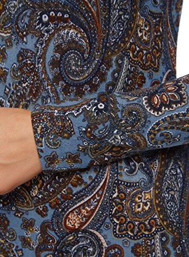 oodji Collection Damen Jersey-Kleid mit Ethno-Druck Blau (2537E)