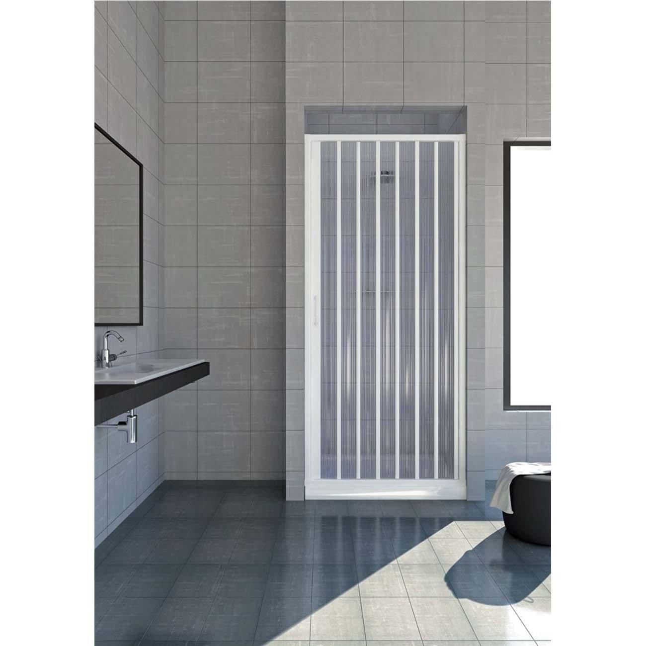 Box doccia estensibile in PVC a un lato anta unica apertura laterale cm 120/130