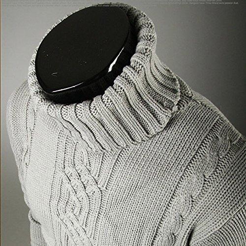 BOMOVO Herren Rollkragen Verdicken Feinstrick Strickpullover Pullover Sweatshirts Grau