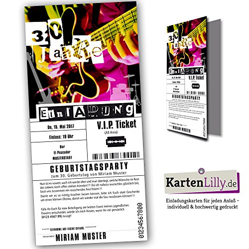 Einladung VIP Ticket eintrittskarten Geburtstag (25 Stück) konzert rock individuell konzertkarten rockkonzert musik band cool Jubilaeum gitarre heavy metall live