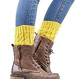UJUNAOR Neue Zweifarbige Socken Kurzarm Beinärmel Frauen Patchwork Warme Winter Socken(Gelb,One size)