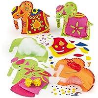 Baker Ross Kits de Costura de Cojines de Elefantes Hindús Manualidades Creativas para Niños Crear Decoraciones y Adornos Personalizados (Pack de 2)