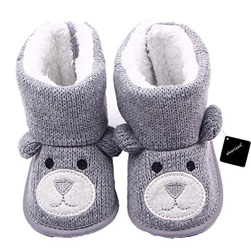 xhorizon TM FLX Madchen Baby Kids Bow Knit Woll Warm Weich Winter-Kleinkind Stiefel Schuhe Geschenk Y257 grau