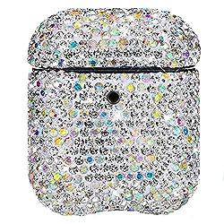 MoreChioce kompatibel mit AirPods 1&2 Hülle,kompatibel mit AirPods Hülle Diamant,Silber Laser Silikon Schutzhülle Kratzfestes Tasche Bumper Gehäuse
