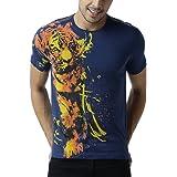 HUETRAP Men's Navy Tiger Printed T-Shirt
