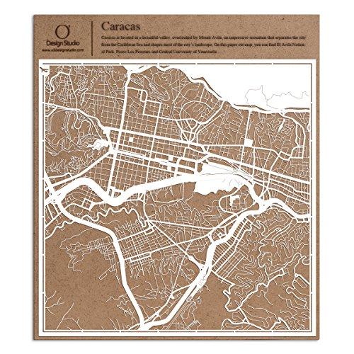 Caracas Scherenschnitt Karte, Weiß 30x30 cm Papierkunst