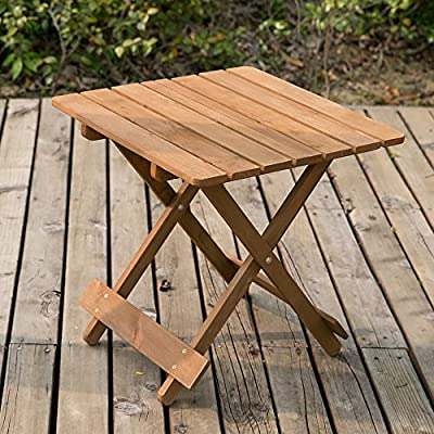 LIFE CARVER Wood Coffee Table Side Table - Folding Garden & Patio Coffee & Snack Table (50cm) - inexpensive UK light store.