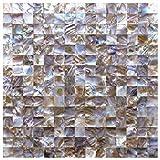 Art3d Natur Perlmutt Duett für Küche, Bad Wände, Spa Fliesen, Pool Fliesen, 2x 2cm Chip (6Fliesen) Natur 6 Tiles A18008