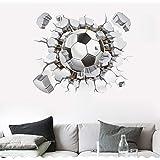 SITAKE Pegatinas de fútbol 3D, pegatinas de pared de fútbol para dormitorios para niños, 3D, pegatinas de vinilo para dormito