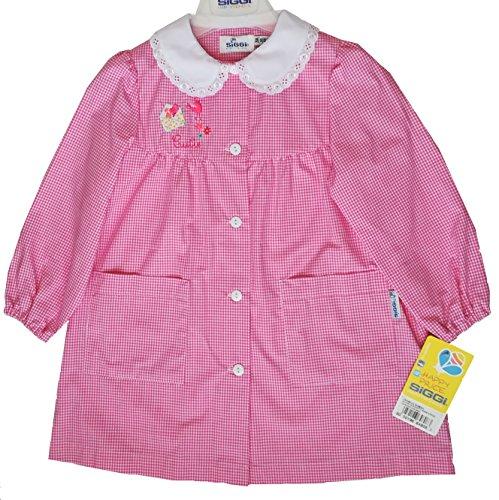 Siggi grembiule asilo bimba scuola materna rosa quadretti bambina 3 anni 98 cm.
