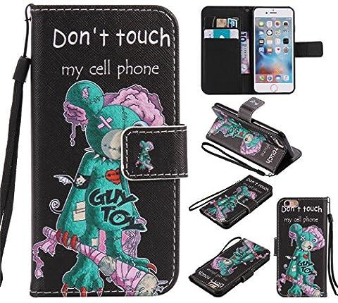 Coque Apple iphone 6 Plus / 6S Plus (5,5 pouces), Nancen Coque Housse Étui en Cuir PU Couverture Folio Leather Case Wallet Portefeuille Flip Protective Cover avec Fonction Stand Fentes pour Cartes [Don't touch my cell