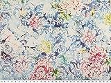 Scuba Papierdruck, Blumen, hellblau, 150cm