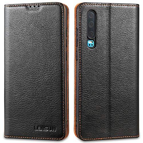 LENSUN Echtleder Hülle für Huawei P30, Leder Handyhülle Magnetverschluss Kartenfach Handytasche kompatibel mit Huawei P 30(6,1 Zoll) - Schwarz(P30-DC-BK)
