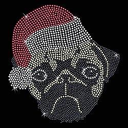 Trenzado Envy Pug Papá Noel cristales, termoadhesivo, para transferencia en camiseta