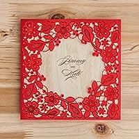 VStoy taglio laser biglietti di inviti per matrimonio set per compleanno Bridal Shower con inserto stampabile carta Buste 20PEZZI (Rosso)