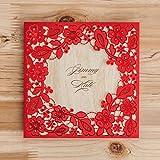 vstoy Gold Laser Schnitt Hochzeit Einladungen Karten Blumen Floral für Geburtstag Partyzubehör Netzteil mit Umschlag und Versiegeln 20 Stück (Rot)