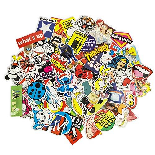 100 Aufkleber / Sticker - Retro-, Graffiti- Style, Reisen, Marken für Skateboard, Snowboard, Koffer, Notebook, Auto, Fahrrad & uvm. - Auto-Dress® (Set-2)