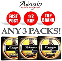 3 PACKS Adagio Pro Acoustic Guitar Strings - Gauges 10, 11 or 12 (Gauge 10)
