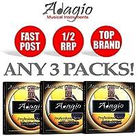 3 PACKS Adagio Pro Acoustic Guitar Strings Phosphor Bronze - Gauges 10, 11 or 12 (Gauge 11)