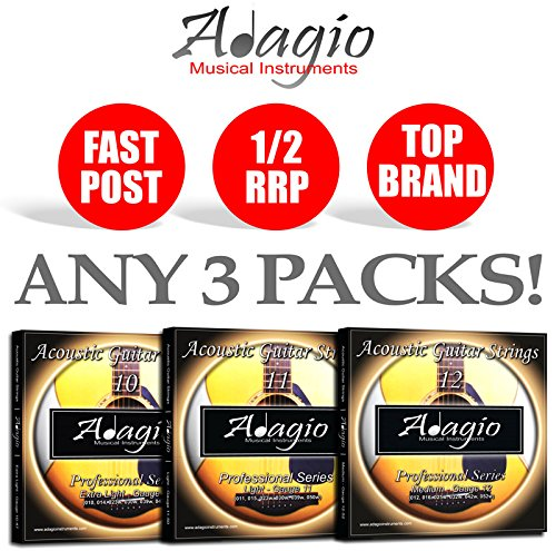 3 PACKS Adagio Pro Acoustic Guitar Strings Phosphor Bronze - Gauges 10, 11 or 12 (Gauge 11)