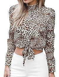 d29e0ee191facc MEIbax Damen Chiffon Floral Flare Sleeve Kurze Bogen Shirt Leopard Print  Top Bluse Crop Hemd Oberteile