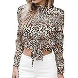 MEIbax Damen Chiffon Floral Flare Sleeve Kurze Bogen Shirt Leopard Print Top Bluse Crop Hemd Oberteile