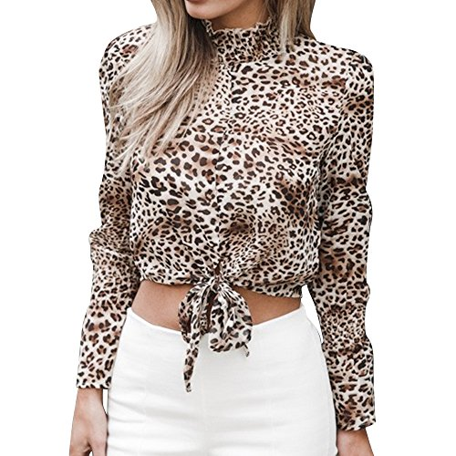 IMJONO Damen Langarm T-Shirt Bluse Tops, 2019 Jubiläumsfeier Damen Chiffon Floral Flare Sleeve Kurzarmhemd Leopardenmuster Top Bluse WH/M (Teenager Mädchen Wolf Kostüm)