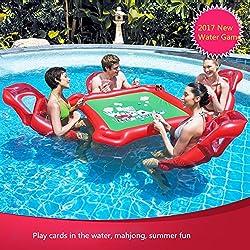 Flotador inflable gigante de la piscina de la mesa de póquer de Mahjong y 4 sillas fijadas para el juguete adulto del juego del agua de Tejas Holdem para la fiesta de la piscina