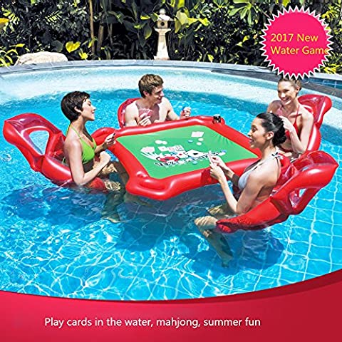 Giant Inflatable Pool Float Floating Pocker Mahjong poker Table and 4 Chairs Set for Texas Holdem Adult Water Play Toy for Pool Party