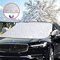 DIAOCARE Car Windscreen Frost Cover, Windshield Snow Cover with Mirror Cover Protector,Magnet Fixing Car Windscreen Snow Cover for Winter Snow Removal, Windshield Cover Protector Fits SUV,Truck & Car