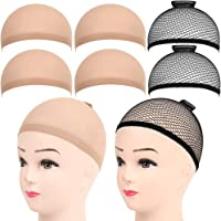 6 Stück Haarnetz Nylon Wig Cap Perücke Kappen, FANDAMEI Perückenkappe Set Perückennetz Unterziehhaube Dehnbare…