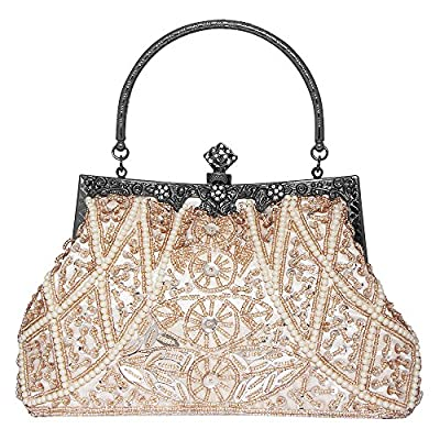 Bagood Women's Vintage Clutches Purses Evening Bags Handbag Shoulder Bag Seed Beaded Sequin Flower for Wedding Bridal Prom Party