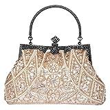 Bagood Womens Vintage Clutches Purses Evening Bags Handbag Shoulder Bag Seed Beaded Sequin Flower for Wedding Bridal Pro