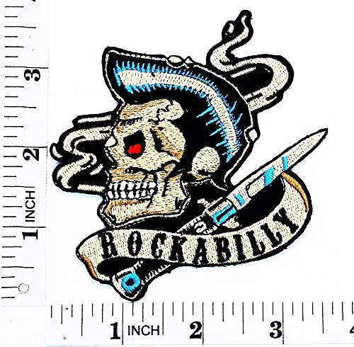 Elvis Skull Ghost Mohawk Elvis Old School Skool Rockabilly Motorrad Patch Hand bestickt und Bügelbild Symbol Jacke T-Shirt patches aufnäher Zubehör