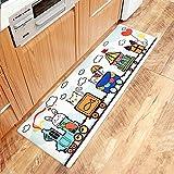 AZUO3 Blöcke Zum Verkauf Cartoon Japanischen Stil Haushalts Bekleidung Resistente Rutschfeste Fußpolster Haushalt Wasserdicht Öl Proof Streifen Leder Küche Bodenmatte,E,M