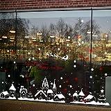 Tuopuda Weihnachtssticker Weihnachten Rentier Schneeflocken Stadt Removable Vinyl Fensterbilder Fensterdeko Weihnachtsdeko Weihnachten Wandaufkleber Wandtattoo Wandsticker (rot)