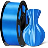 SUNLU PLA Silk Blue Filament 1.75mm 3D Printer Filament, 1KG 2.2 LBS Spool 3D Printing Material, Shiny Metallic PLA Silk Fila