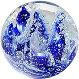Kaltner Präsente Geschenkidee: Traumkugel Glaskugel Briefbeschwerer Kugel aus Glas Farbe Dunkelblau Weiß (Ø 85 mm)