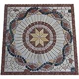 Marbre Rosace Mosaique en carrelage 60x60 cm x 8 mm rose des vents rosso verona