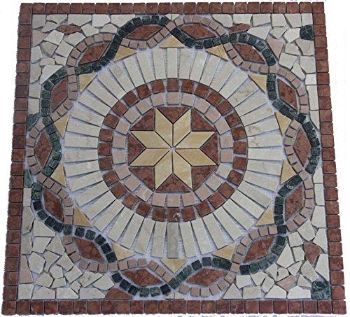 Marble mosaic square medallion tile 60x60 cm Handmade in Europe
