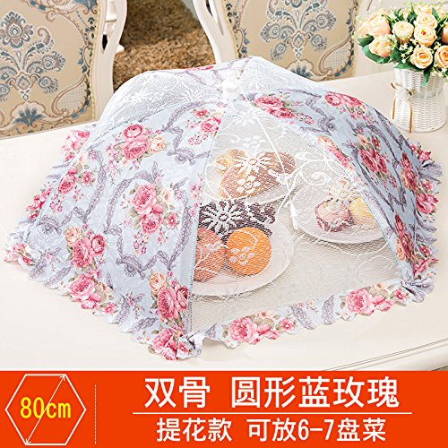 BBDQX Folding cover, dish cover, round food cover, anti fly cover, dining table cover, leftover food, vegetable cover, square cover, dish umbrella cover, bowl cover,Round blue rose -