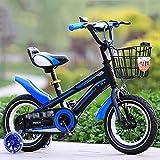 Bicyclehx Kids 'Bikes Metallrahmen Einstellbare Leicht zu erreichende Hebel Gepolsterter Komfort Sattel Kind Geschenk Kinder Fahrrad in Blau, Rot, Gelb (Color : Blue, Größe : 12 inch)
