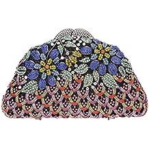 Bonjanvye Crystal Glitter Floral Evening Bag Clutch Purses for Women