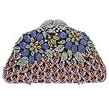 Bonjanvye Crystal Glitter Floral Evening Bag Clutch Purses for Women Multicolor