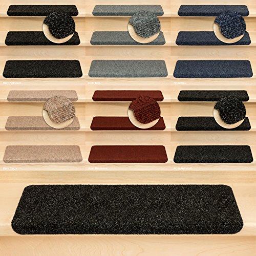 Stufenmatten Treppenmatten Rom Rechteckig - 5 aktuelle Farben ! (15 Stück Anthrazit)