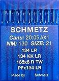 Schmetz - 10 aghi a testa rotonda per macchina da cucire adatti al cuoio, con sistema ad aghi 134 KK LR (industriale) NM 130 DIMENSIONE 21